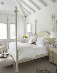 Love the idea of an all white bedroom!  Thinking that this would be great for the guest bedroom!