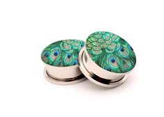 Peacock Feathers Picture  Ear plugs in size by ArtEarGauges, $17.95