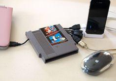 Mario Nintendo NES Cartridge USB Hub by GeekUnique on Etsy