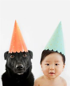 We're party animals! Photos of a boy and his dog dressed alike.