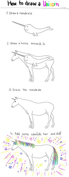 With these step by step instructions, you can draw a unicorn too!