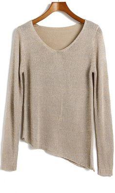 Irregular oblique hem round neck knit sweater
