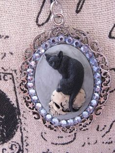 #JR51915  fancy ALTERED ART BLACK CAT Cameo Necklace SKULL MORBID Black GOTHIC…
