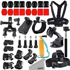 Kupton Accessories Action Camera Mount Kit for GoPro Hero AKASO EK7000 Xiaomi Yi GeekPro ANART DBPOWER Lightdow ASX Action Pro ChestHeadWristCarBikeFloatySelfie StickQuick Clip * Want additional info? Click on the image. This is Amazon affiliate link. #CameraAccessories