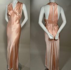 CREPE BACK SATIN BIAS CUT HARLOW EVENING GOWN - HALTER TOP - DOUBLE T-STRAP BACK.  Available for sale at rpvintage.com. SOLD