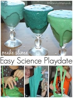 Throw a simple science playdate or party and make your own homemade slime with this quick and easy recipe.