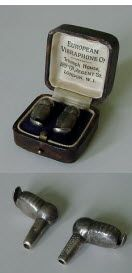 Early Sterling Silver Vibraphone hearing aids.   Case is marked EUROPEAN VIBRAPHONE CO. TRIUMPH HOUSE 189-191 REGENT ST. LONDON W.I