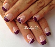 Nail Art Designs In Every Color And Style – Your Beautiful Nails Burgundy Nails, Purple Nails, Fabulous Nails, Perfect Nails, Fancy Nails, Trendy Nails, French Nail Designs, Nail Art Designs, Nails Design