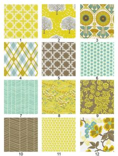 I love these colors. Amy Butler, perhaps? I feel some new living room pillows coming on. ETA: They are actually Joel Dewberry fabrics from the Modern Meadow Sunny Day Palette. http://www.joeldewberry.com/MMSunnyDay.html