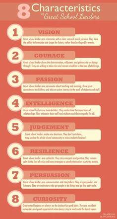"""8 Characteristics of Great School Leaders"". #edchat #cpchat #education"