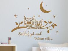 Cool S e Eulchen mit Spruch Schlaf gut und tr um s als Wandaufkleber f rs Kinderzimmer