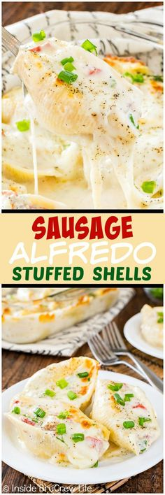 Sausage Alfredo Stuffed Shells - these easy pasta shells are stuffed with cheese,veggies, and meat making it a win at the dinner table. Easy recipe to have ready in 30 minutes!