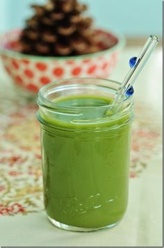 Cucumber, Mint, and Pear Green Juice .