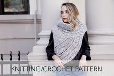 Knitting/Crochet Pattern // Asymmetric Cowl Vest Shawl Scarf One Armed // Huntress Vest PATTERN