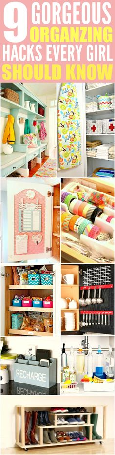 These 9 home organization projects are THE BEST! I'm so glad I found these AMAZING tips! Now I have some great ways to keep my place tidy! Definitely pinning for later!