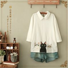 Three cats embroidered white cotton blouse  http://www.dejavucat.com/product/three-cats-embroidered-white-cotton-blouse/  #cat #blouse #harajuku #cute #kawaii #white #embroidery #morigirl #pastel #fairykei #shortsleeve #blouse