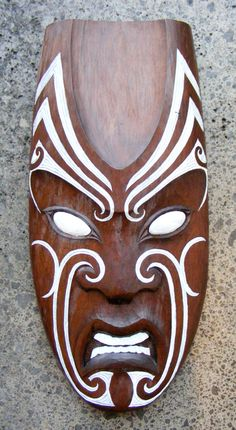 Matt Smiler Kura Gallery Maori Art Design Aotearoa New Zealand Carving Totara Male Mask White Moko