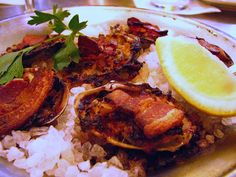 red white and blue clams casino seafood lovers dish Bacon Dishes, Seafood Dishes, Fish And Seafood, Clam Recipes, Shrimp Recipes, Clams Casino, Good Food, Yummy Food, Delicious Recipes