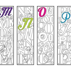 Bookmarks – Page 4 – Scribble & Stitch Alphabet Coloring Pages, Colouring Pages, Coloring Sheets, Coloring Books, Monogram Alphabet, Illuminated Letters, Valentines For Kids, Cool Fonts, Scribble