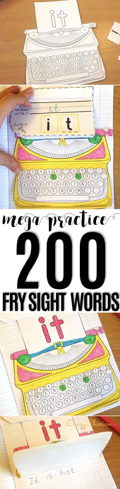 Use these typewriters with your kids as engaging reading strategies and introduce, practice and review Fry words first hundred and second hundred (1-200). Gain students' attention and let them read and write sight words (for kindergarten, first grade, as well as second grade) in a memorable way. | CrazyCharizma
