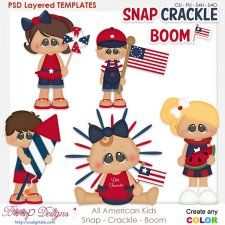 American Kids - Snap - Crackle - Boom Layered Element Templates #CUdigitals cudigitals.comcu commercialdigitalscrapscrapbookgraphics