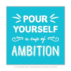 Our Pour Yourself a Cup of Ambition Beverage Napkin is the perfect way to add a fun to any occasion! 25cm x 25cm, 3 ply, 20 per package. https://incrediblycharming.com/beverage-napkins/926-ambition-beverage-napkins.html Made in the USA.