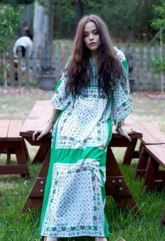 60s Boho Maxi Scarf Dress Green Floral Long Dress by Saybury on Wiseling