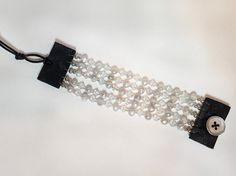Cuff Bracelet - 5-Strand Freshwater Pearls and Swarovski Crystals on Black Leather