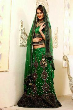Captivating Green Bridal Lehenga Choli | Saris and Things