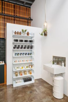 """Spruce Apothecary ~ As Olson says, """"The concept for the shop was to combine some of the best contemporary brands like Malin+Goetz and REN with classic European heritage products. We also have some oddball discovery items in the Canoe vein."""" Bonus points: the store interior is just as good as the products they feature."""