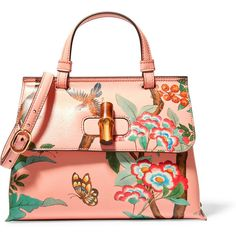 Gucci Bamboo Daily printed textured-leather shoulder bag ($1,890) ❤ liked on Polyvore featuring bags, handbags, shoulder bags, peach, shoulder bag purse, gucci, cell phone purse, gucci purses and flower handbags