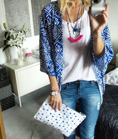 Style blogger Anna Mavridis spotted wearing Cassie Louise Paradise collection necklaces