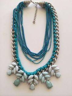 LLD Jewellery Multirow Chain Flower Turquoise pastel necklace collar celeb blog
