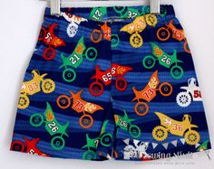 Boys shorts. Boys beach shorts. Motorbikes. Elasticated waist. Michael Miller fabric Sizes 2T,3T, 4T,5. - pinned by pin4etsy.com
