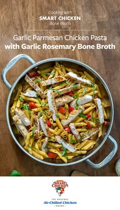 Enhance your meals with our Organic Smart Chicken Bone Broth! Pick from four savory flavors, including Classic, Mushroom, Garlic Rosemary and Pho. Available online at Shop.SmartChicken.com. Chicken Parmesan Pasta, Garlic Pasta, Vegetable Pasta, Chicken And Vegetables, Healthy Food, Healthy Eating, Healthy Recipes, Quick Chicken Recipes, Bone Broth