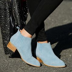 Free people Monroe Chelsea boot light blue suede So so so cute but sadly are true to size so too small for me :( my loss is your gain! Grab these sold out beauties or trade me a size 9 ;) Free People Shoes Ankle Boots & Booties