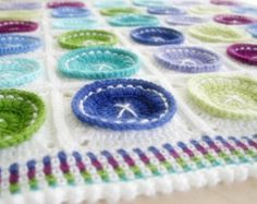 Crochet Pattern, Bright as a Button Blanket, Baby