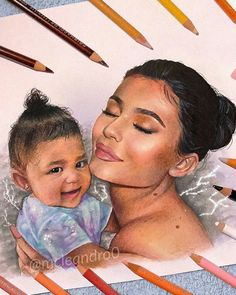 Kylie and stormi aww 😍 Kylie Jenner Drawing, Kylie Jenner Hair, Estilo Kylie Jenner, Kylie Jenner Style, Kendall And Kylie Jenner, Beautiful Girl Drawing, Beautiful Sketches, Kardashian Family, Kardashian Jenner