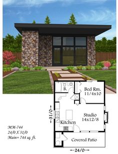 Lombard Studio Small House Plan A wonderful small modern house plan with a myriad of applications, Lombard Studio has beautiful modern styling combined with ease of construction, state of the art energy efficiency and a very popular floor plan. Small Modern House Plans, Small House Design, Small House Plans, Modern House Design, House Floor Plans, One Bedroom House Plans, Guest House Plans, Little Houses, Bungalow