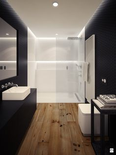super modern bathroom interior design with contrasting colors The post super modern bathroom interior design with contrasting colors appeared first on Badezimmer ideen. Apartment Bathroom Design, Bathroom Interior Design, Modern Interior Design, Bedroom Apartment, Apartment Ideas, Wood Floor Bathroom, Small Bathroom, Bathroom Ideas, Bathroom Designs