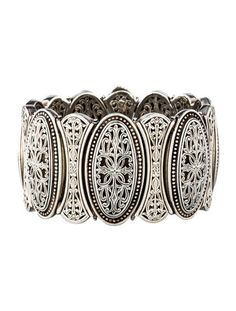 Sterling Silver Konstantino Medallion Cuff with cut out designs. Beautiful!