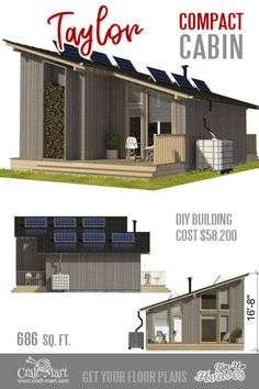 This clean-line tiny house with a loft has everything for a young US couple on a tight budget beside a double-car garage. Micro House Plans, Tiny Houses Plans With Loft, Garage Plans With Loft, Small Cabin Plans, A Frame House Plans, House Plan With Loft, Tiny House Loft, Tiny House Trailer, House Floor Plans