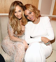 Jennifer Lopez and Beyonce attend the 2015 Vanity Fair Oscar Party on February 22, 2015.