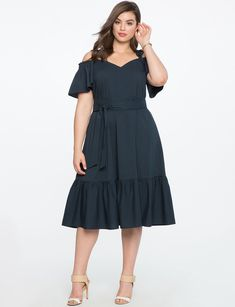 Eloquii Off The Shoulder Flounce Hem Dress - 16 Country Dresses, Western Dresses, Culotte Dress, Plus Size Womens Clothing, Clothes For Women, Xl Mode, Oversized Dress, Belted Dress, Plus Size Dresses