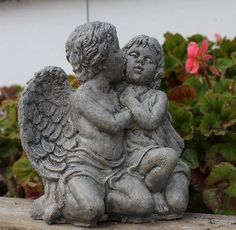 Stone #garden #ornament - angel cherubs kissing - #garden #decor  - made in cornwa,  View more on the LINK: 	http://www.zeppy.io/product/gb/2/291446764406/