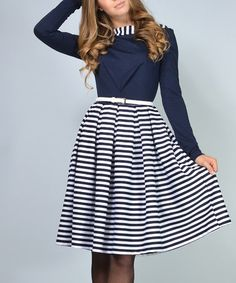 Look what I found on #zulily! Navy & White Stripe A-Line Dress - Plus Too #zulilyfinds