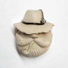 "Mask. Little Red Riding Hood, ""Hunter"". Hand built in stoneware. Ceramics, sculpture. By Aura Kajas 2015."