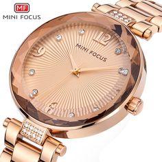 aec3b8a836f Minifocus Fashion Rose Gold Watch Women 2018 Luxury Brand Whit Diamonds  Quartz Woman Watches Bracelet Relogio
