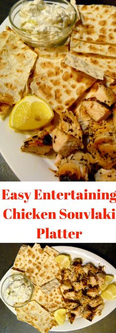 I'm revealing my famous Easy Entertaining Chicken Souvlaki:  Plump, juicy chicken breasts marinated with Greek flavors such as lemon, garlic, oregano, and wine. This easy summer dish turns finger food up to a new level. - Slice of Southern