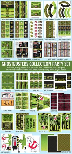♥´¨*) ¸.·´¸.·*´¨) ¸.·*¨) (¸.·´Personalize this HUGE Ghostbuster Inspired Party Collection with your own text... AT HOME!!! This kit is an easy, fun & a festive addition to your Ghostbuster party or event. This Ghostbusters Collection Includes: Editable Ghostbuster Invitation ★ Editable Badges (2 sizes to choose from) ★ Silly String Wraps (4 sizes to choose from ) ★ Straw or Cupcake Flags ★ Editable Text Table Tents ★ Editable Text Water Bottle Labels/Wrappers ★ Editable Text Favor Tags ★…